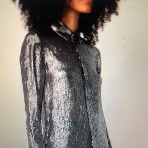 Saint Laurent 2018 Silk Shirt Black w Silver